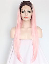 Недорогие -Синтетические кружевные передние парики Жен. Прямой Розовый Искусственные волосы Волосы с окрашиванием омбре / Темные корни / Природные волосы Розовый Парик Длинные Лента спереди Розовый