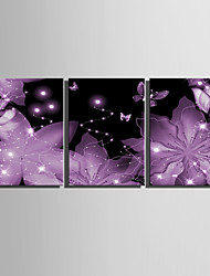cheap -E-HOME® Stretched LED Canvas Print Art  Bright Pink Flowers LED Flashing Optical Fiber Print Set of 3