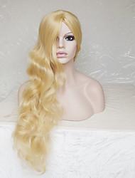 abordables -Pelucas sintéticas Ondulado / Ondulado Medio Rubio Corte asimétrico / Con flequillo Pelo sintético Entradas Naturales Rubio Peluca Mujer Larga Sin Tapa
