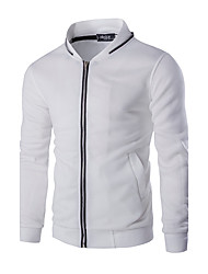 cheap -Men's Daily Hoodie Jacket Solid Cotton Long Sleeve Spring Fall