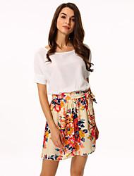 cheap -Women's White/Pink Round Flower Print Chiffon Short Sleeve Dress