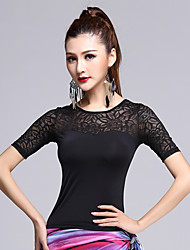 cheap -Latin Dance Tops Women's Performance Lace / Milk Fiber Lace 1 Piece Black Latin Dance Short Sleeve Natural