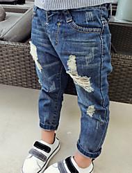 Pantaloni / Jeans Maschile Casual Tinta unita Cotone Primavera / Autunno Blu