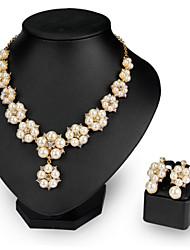 abordables -Mujer Perla Conjunto de joyas - Flor Moda Incluir Collar / pendientes Blanco Para Boda / Fiesta / Pendientes / Collare