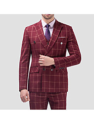 cheap -Burgundy Dark Blue Blue Checkered Standard Fit Cotton Suit - Notch Double Breasted Four-buttons