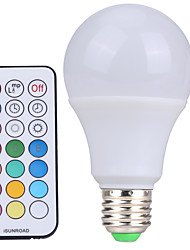 10W E26/E27 LED Globe Bulbs A60(A19) 12 SMD 600-800 lm Cold White RGB K Dimmable Remote-Controlled Decorative AC 85-265 AC 220-240 AC 1set
