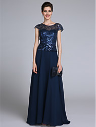 Sheath / Column Scoop Neck Floor Length Chiffon Mother of the Bride Dress with Sequins by LAN TING BRIDE®
