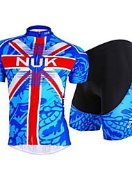 cheap -Nuckily Men's Short Sleeves Cycling Jersey with Shorts - Blue Bike Breathable, Sweat-wicking, Spring Summer