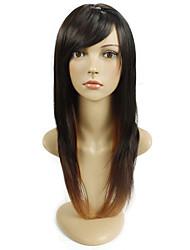 preiswerte -Frauen exquisite glattes Haar lang Länge Perücke Multi-Color