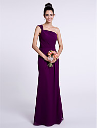 cheap -Mermaid / Trumpet One Shoulder Floor Length Chiffon Bridesmaid Dress with Pleats by LAN TING BRIDE®