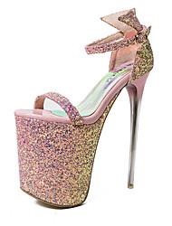 damesko sexet runde tå stilethæl hæl sandaler hælhøjde 20cm (flere farver)