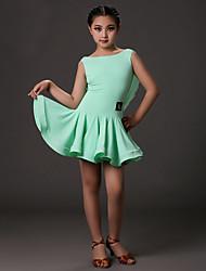 Latin Dance Dresses Children's Training Lycra Draped 1 Piece Fuchsia / Light Green