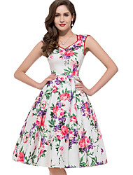 Women's V Neck Party Street chic Floral Print Swing Sleeveless Tutu Dress