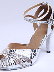 cheap -Women's Dance Shoes Latin / Ballroom Standard Shoes Suede/Leather/Leatherette Flared Heel Silver/Gold Customizable