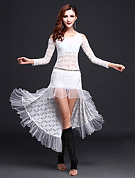 cheap -Belly Dance Outfits Women's Performance Lace / Tulle Lace Long Sleeve Natural Top / Skirt