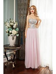 preiswerte -Mantel / Spalte Schatz Boden Länge Chiffon Prom formalen Abendkleid mit Perlen