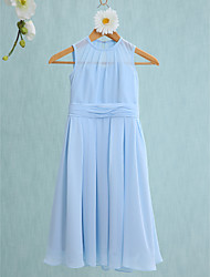 Sheath / Column Jewel Neck Knee Length Chiffon Junior Bridesmaid Dress with Ruching by LAN TING BRIDE®
