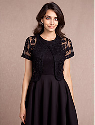 Short Sleeves Tulle Party Evening Casual Women's Wrap With Pattern Shrugs