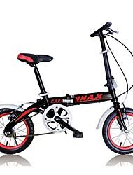 abordables -Vélo pliant Cyclisme 7 Vitesse 14 pouces Frein en V Fourche à Suspension Mono poutre Ordinaire