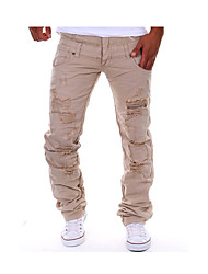cheap -Men's Fashion Personalized Double Waist Hole Leisure Cargo Tooling Pants, Casual / Hole/Straight