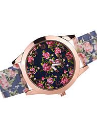 Недорогие -Женские Модные часы Кварцевый Японский кварц Повседневные часы силиконовый Группа Черный Белый Коричневый Разноцветный