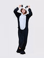 Kigurumi Pajamas Panda Onesie Pajamas Costume Polyester Black/White Cosplay For Adults' Animal Sleepwear Cartoon Halloween Festival /