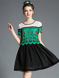 Women's Vintage Fashion Casual Party Embroidery Hollow Lace Plus Size Fake Two Pieces Dress