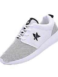 baratos -Mulheres Sapatos Tule Primavera Outono Conforto Sem Salto para Atlético Casual Branco Preto Branco/Preto