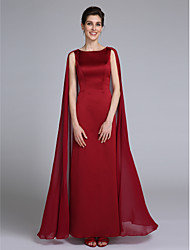 Sheath / Column Jewel Neck Ankle Length Chiffon Mother of the Bride Dress with Pleats by LAN TING BRIDE®