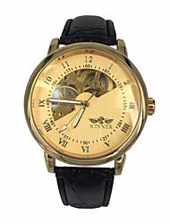 levne -WINNER Pánské mechanické hodinky Náramkové hodinky Automatické natahování S dutým gravírováním Kůže Kapela Luxus Černá