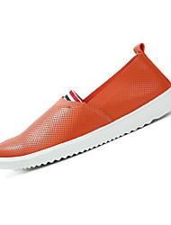 Недорогие -Муж. обувь Ткань Дерматин Лето Удобная обувь Мокасины и Свитер Для прогулок для Повседневные Белый Черный Оранжевый