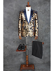 cheap -Coffee Patterns Tailored Fit Polyester Suit - Peak Single Breasted One-button