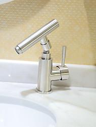 cheap -Art Deco/Retro Centerset Widespread Ceramic Valve Single Handle One Hole Stainless Steel, Bathroom Sink Faucet