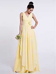 cheap -Sheath / Column V-neck Floor Length Chiffon Bridesmaid Dress with Flower(s) Criss Cross by LAN TING BRIDE®