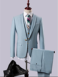 cheap -Sky Blue Solid Colored Slim Fit Polyester / Rayon(T / R) Suit - Notch Single Breasted One-button