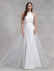 A-Line Halter Floor Length Chiffon Tulle Wedding Dress with Draped by LAN TING BRIDE®
