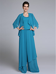 cheap -Sheath / Column Scoop Neck Floor Length Chiffon Mother of the Bride Dress with Beading Sequins by LAN TING BRIDE®