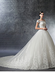 Ball Gown Off-the-shoulder Cathedral Train Satin Tulle Wedding Dress with Crystal Beading Appliques Ruffle by LAN TING BRIDE®