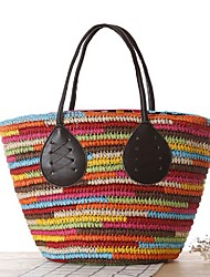 Women Bags All Seasons Straw Tote for Casual Outdoor Red