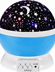 abordables -1set Lune Etoile Projecteur Sky NightLight Coloré Batteries AAA alimentées USB Pour les enfants Intensité Réglable avec Câble USB