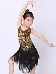 cheap -Latin Dance Outfits Performance Polyester Metal Sequin Tassel Sleeveless Natural Dress