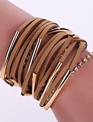cheap -New Fashion Native Style Boheme Tassel Weave Leather Alloy Buckle Bracelet Bangle