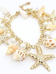 billige -Dame Perle Lyserød Charm-armbånd - Imiteret Perle, Guldbelagt Stjerne Mode Armbånd Guld Til Daglig