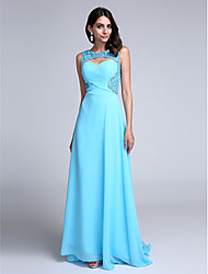 Sheath / Column Scoop Neck Sweep / Brush Train Chiffon Prom Formal Evening Dress with Beading Side Draping by TS Couture®