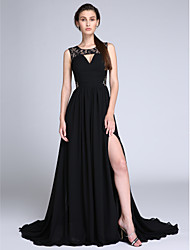 cheap -A-Line Jewel Neck Sweep / Brush Train Chiffon Lace Formal Evening Dress with Draping Lace Ruched by TS Couture®