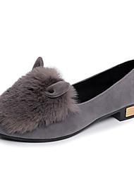 Damen-High Heels-Kleid Lässig-Wildleder Pelz-Flacher Absatz-Komfort-Schwarz Braun Grau