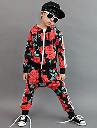 Girl's Cotton Spring/Autumn Fashion Floral Print Hip-hop Costume Long Sleeve Hoodie Coat And Hallen Pants Sport Suit