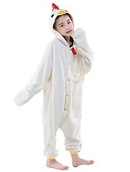 cheap -Kigurumi Pajamas Cock / Chicken Onesie Pajamas Costume Polar Fleece White Cosplay For Kid's Animal Sleepwear Cartoon Halloween Festival /