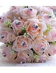 Fleurs de mariage Rond Roses Bouquets Mariage Polyester Env.22cm