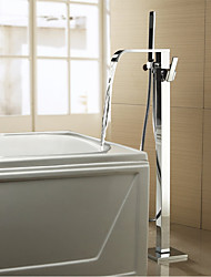 Contemporary / Modern Tub And Shower Waterfall / Widespread / Handshower Included / Floor Standing / Pullout Spray with